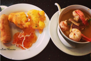 Tom Yum Soup with Corn Fritters and Spring Rolls